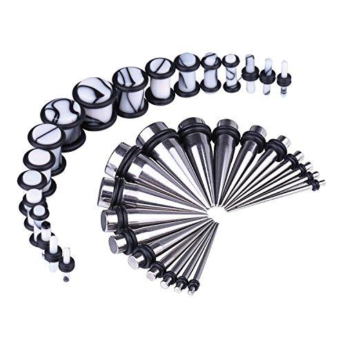 BodyJ4You Women's 36pcs Messgeräte-Kit Edelstahl verjüngt sich aus weißen Marmor Art Stecker 14g-00g Ohr Stretching Sets (Ohr Und Messgeräte Verjüngt)