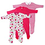 #9: Baby Grow Minni Berry Long Sleeve Cotton Sleep Suit Romper Set of 3 For Girls (0-3M)