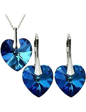 18 Farb Varianten - Luxusetui M3crystal 6228 Herz Ohrringe Anhänger Swarovski® Krystalle 925 Silber Rhodium