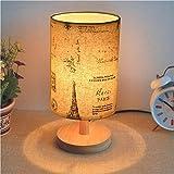 Rotondo in legno massello lampada da comodino camera da letto comodino moderno minimalista rotondo, canapa retrò, interruttore pulsante USB