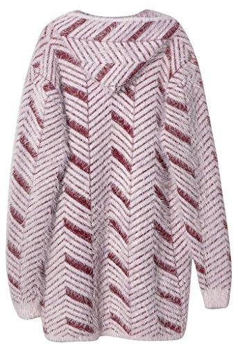 Vogueearth Femme's Longue Manche Zipper Pocket Knit Hooded Manteau Blousons Coat Veste Cardigan Sweater Chandail Tricots Rouge