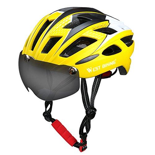 ICOCOPRO Bike Helm mit abnehmbaren Magnet Visier Shield Brillen & Pads, verstellbare Fahrradhelm für Männer Frauen CPSC Sicherheit zertifiziert (5Farben) schwarz/rot/gelb/blau/grün, Herren, gelb
