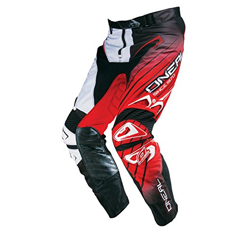 O'Neal Hardwear MX Hose RACEWEAR Schwarz Weiß Rot Motocross Enduro Cross Motorrad Pant, 0127H-3, Größe 36/52
