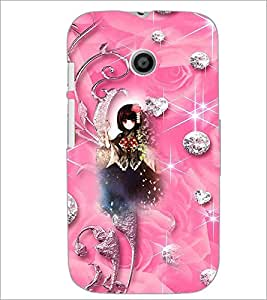 PrintDhaba Cute Girl D-4142 Back Case Cover for MOTOROLA MOTO E (Multi-Coloured)
