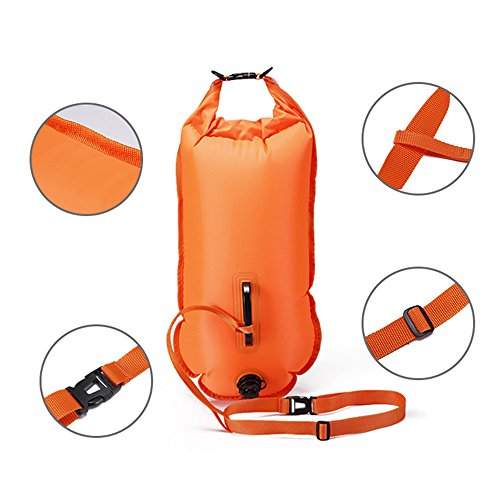 QUBABOBO - boa per nuoto in acque libere, in PVC, 20 L / 28 L, galleggia, borsa impermeabile da trainare, per nuotatori in acque aperte e atleti di triathlon, colore: arancione, Orange, 28l