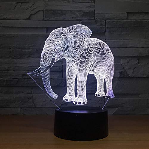 Kinderbeleuchtung Geburtstagsgeschenk Nachtlichter Elfenbein Elefant 3D Led Nachtlichter Neuheit Led Tierlampe 7 Bunte Wechselnde Led Touch Tischlampe -