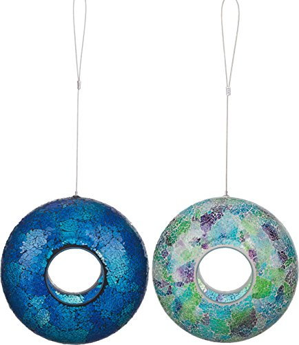 Transpac Imports Inc. Mosaic Globe 9 inch Glass Bird Feeder Set of 2