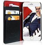 Handyhülle Handytasche für Apple iPhone 6S iPhone 6  Ledertasche, Ledercase  Kartenfach, Geldfach, induktives Laden  Schwarz Rot