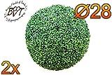 2x PREMIUM Buchs, Echtbaum-Optik, kleine Buchskugel Buxbaum Ø 18 cm 180 mm grün dunkelgrün, robust und wetterfest, fertig montiert, auf Wunsch mit Solarbeleuchtung SOLAR LICHT BELEUCHTUNG (Zubehör) , ohne Terracotta Topf Plastik und stabilem Fuß (Zement) hoch und stabil Kunstpflanze Buxbaum künstlicher Baum künstlich Kunstpflanzen stabile Dekobäumchen künstliche Bäume Bäumchen Kugel Buxbaumkugel + Solarlicht LED Lampe 2 Lampen Lichterbaum Kunstblume im Pflanzkübel