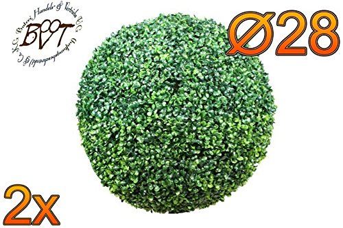 BTV Haus & Garten 2X Premium Buchs, Echtbaum-Optik, kleine Buchskugel Buxbaum Ø 18 cm 180 mm grün dunkelgrün