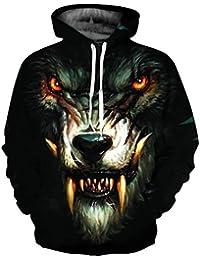 aedb6f43c5f7 Lenfesh Hombre 3D Lobo y León Impreso Sudadera con Capucha,Unisex Animal  Fullprint Sudaderas de