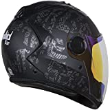 Steelbird Air SBA-2 Strength Night Vision Full Face Graphics Helmet - Single Night Vision Dual Action Visor for Day and Night (Large 600 MM, Matt Black/Grey)