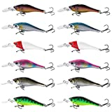 12Pcs Fishing Lures Set for Pike Trout Perch Salmon with Six Colors 8.5CM/ 6.85g