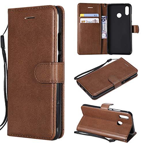 Artfeel Flip Brieftasche Hülle für Huawei P20 Lite, Premium PU Leder Handyhülle mit Kartenhalter,Retro Bookstyle Stand Abdeckung mit Magnetverschluss Handschlaufe Hülle-Braun -