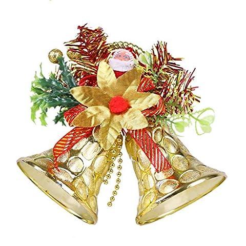 Weihnachten Glocken Hängend Dekorationen Set von 2 Innen- /Draussen (Gold)