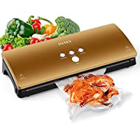 INTEY Food Vacuum Machine, Multifunction Vacuum Package, Useful Kitchen Packing Device, Dry&Moist Food Saving Sealer with Cutter and Sealer Bags, Gold