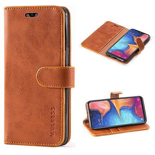 Mulbess Handyhülle für Samsung Galaxy A10 Hülle, Leder Flip Case Schutzhülle für Samsung Galaxy A10 / M10 Tasche, Cognac Braun