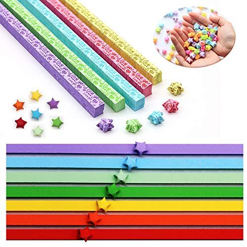 INTVN Origamipapier Papierstreifen Regenbogenfarbe und Lovely Stern Papier Handwerk Dekorationen, 2080 Streifen(2 Styles, 12 Farben)