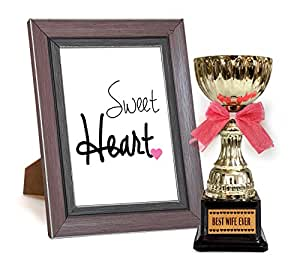 TiedRibbons Romantic Valentine gift for Wife Wifey her women lover Quoted Frame with Golden Trophy