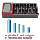 Svpro Cargador de Batería 6 Slots Li-ion/AA AAA Ni-MH Ni-CD/LiFePO4 Baterías Recargables 10440 14500 16340 17500 18650 26650 22650 (H6)