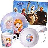 Unbekannt 4 TLG. Geschirrset -  Disney die Eiskönigin - Frozen  - Porzellan / Keramik - Trinktasse + Teller + Müslischale + Platzdeckchen - Kindergeschirr - Frühstück..