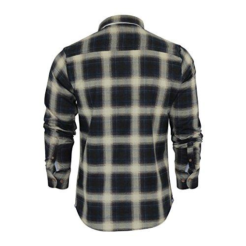 Camicia a quadretti da uomo Brave Soul Impala flanella spazzolato cotone manica lunga Casual Top Blue / Ecru