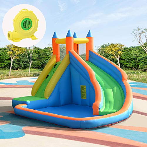 COSTWAY Inflatable Bouncy Castle Jumper House Water Pool Slide Activity Center for Kids with Water Slide, Climbing Wall and Pool Area, 400 x 250 x 300CM (Type 1 Bouncy Castle + 680W Blower)