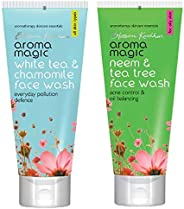 Aroma Magic White Tea And Chamomile Face Wash, 100ml and Aroma Magic Neem And Tea Tree Face Wash, 100ml