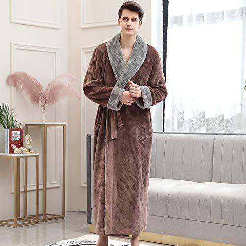 LIUY Luxuriöse Männer Bademantel, Schal Langarm Leichte Kragen Coral Fleece Super Soft Bequeme, warme Bademäntel for Männer oder Jungen (Color : Brown, Size : L)