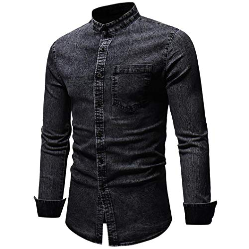 Pottoa Herren Herbst Winter Shirt,Vintage Distressed Solid Denim Langarm T-Shirt Denim Hemden Freizeit Shirts Regular Fit Hemden Jeanshemden