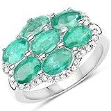 Ring Sterling-Silber 925 3,33 Karat echter Sambianischer Smaragd und weißer Zirkonia