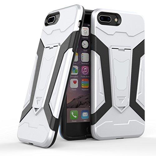 Apple iPhone 7 Plus 5.5 Coque, Voguecase [Armure Series] 2 in 1 Shockproof Hybrid Doux TPU and Hard PC Rugged Protective Rigide Plastique Shell Housse Coque Étui Avec Built-in KickSupporter(Argent) de Argent