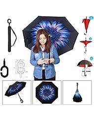 Double Parapluie Inverse Creative Flip En Forme De C Manche Mains Libres Double Protection UV Parapluies Créatifs SKY TEARS® (Interdictions bleues, 106*80cm/41.7*1.5inch)