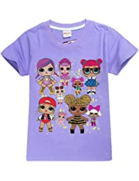 8aafc5370 DGFSTM Surprise Dolls T-Shirts Cartoon Game Girls Tops Tshirts Kids Party  Clothes