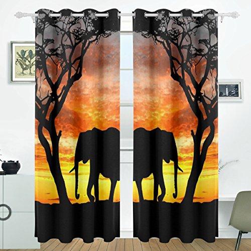 JSTEL Azteken Elefant Baum Sonnenuntergang Vorhänge Panels Verdunklung Blackout Tülle Raumteiler für Terrasse Fenster Glas-Schiebetür Tür 139,7x 213,4cm, Set von 2 -