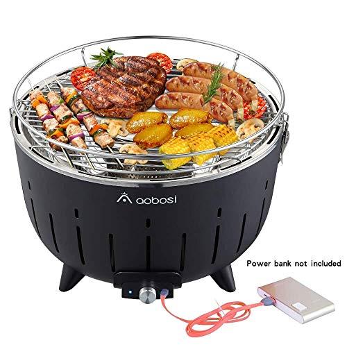 Aobosi Barbacoa de Carbón Sin Humo Barbacoa Mesa Grill Carbón Vegetal Barbacoa de Carbón Con Ventilación y Bolsa de 35 x 35 x 23.5 cm Negro