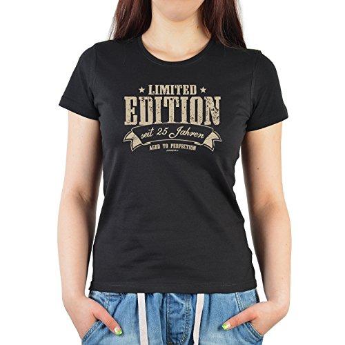 Girlie-Shirt ::: Limited Edition seit 25 Jahren ::: zum Geburtstag Schwarz