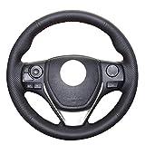 Coprivolante for auto, Coprivolante for auto in vera pelle nera for Toyota RAV4 2013-2017 Corolla 2014-2017 Auris 2013-2016 Scion iM 2 (Color : Black thread)
