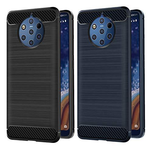 VGUARD [2 Pack] Cover per Nokia 9 PureView, [Fibra di Carbonio] Protezione Posteriore Soft TPU Custodia Case per Nokia 9 PureView (Nero+Blu)