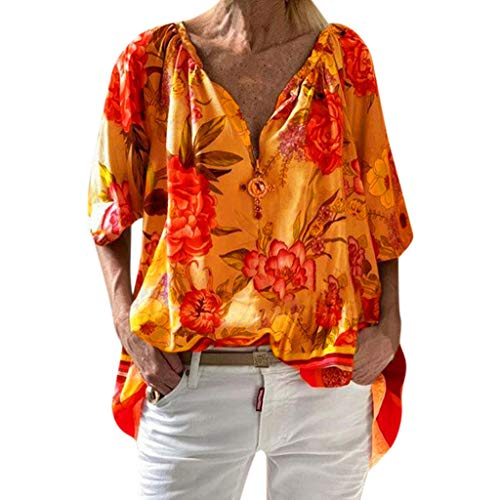 Innerternet Damen Sommerkleid Bohemian Stickerei Floral Tunika Shirt Oberteile Lose Hemd Tunika angarm V-Ausschnitt Bluse Tops Flowy Minikleid -