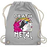 Metal - Death Metal Sensenmann auf einem Einhorn - Unisize - Hellgrau - WM110 - Turnbeutel & Gym Bag