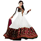 Anshika Lifestyle Women's White Embroidered Faux Georgette Anarkali Dress Material