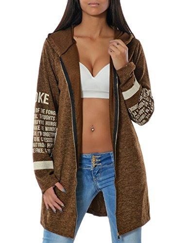 Damen Kapuzen-Pullover Sweatshirt-Jacke Hoodie Zip Mantel (weitere Farben) No 14183, Farbe:Braun;Größe:One (Mittelalter Billig Kleid)