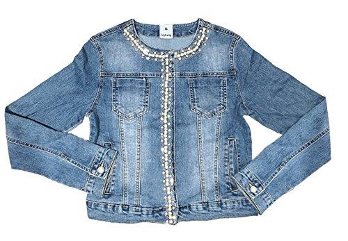 Nina Carter Damen Jeans Jacke Perlen Strass Glitzer Steine Kurze Übergangsjacke D2259,Blau-2,42 / - Strass Jacke