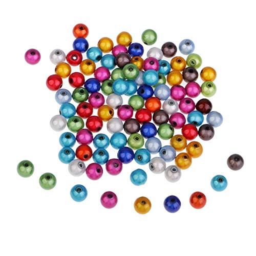 P Prettyia 100 Stück Kunststoff Kugel Spacer Beads Kugel Schmuckperlen Zubehör Zum Basteln