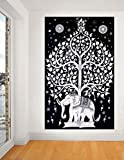 Indian Elephant Tree Tapestry ,Good Luck White Elephant Tapestry , Hippie Gypsy Wall Hanging , Tree of Life Tapestry , New Age Dorm Tapestry (White/black), Twin Wall Decoration