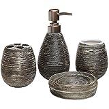 Asien moderne 4pièces accessoires de salle de bain Ensemble Distributeur de savon en céramique Gobelet Porte Brosse à Dents de savon, Céramique, noir, middle