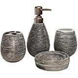 Rocita Mode Bad-Accessoires Set 4PC Keramik Zahnbürstenhalter Seifenspender Becher Seifenschale durch