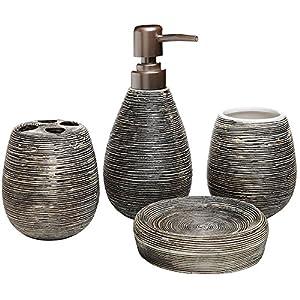 Deanyi – Juego de accesorios de cuarto de baño de moda, 4 unidades, soporte para cepillos de dientes de cerámica…