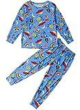 TUONROAD Pijamas fósiles de Dinosaurio Pijamas fósiles de algodón Camisa de Manga Larga para niños pequeños de Manga Larga y Pantalones de Pijama